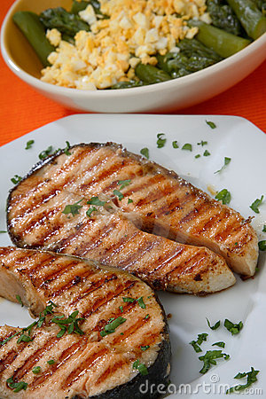 Free Two Grilled Salmon Steaks With Herbs Close Up Stock Images - 7923464