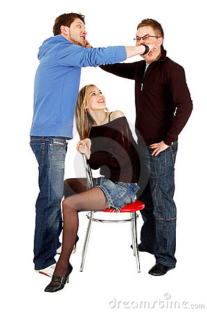 Two guys fight in front of a sitting prety girl