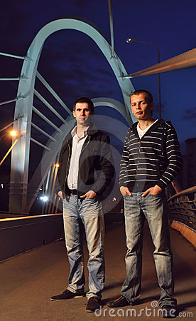 Two guys on the night bridge
