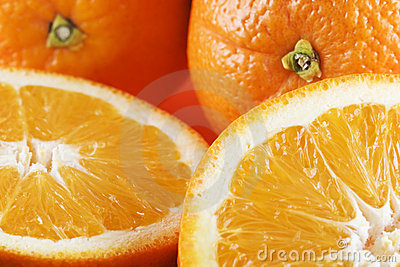 Two half oranges, two whole or