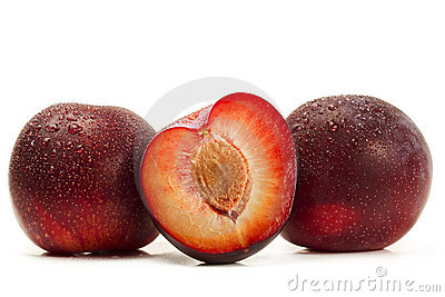 Two and a half wet plums