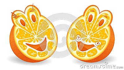 Two halfs of orange