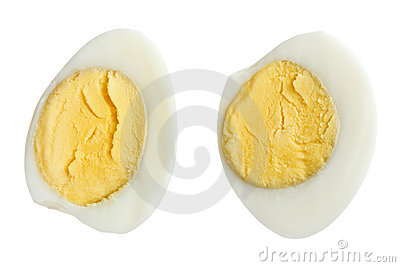 Two halves of boiled quail eggs