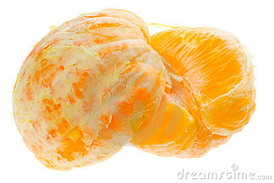 Two halves of peeled orange