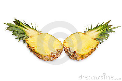 Two halves of pineapple.