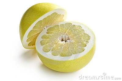 Two halves of pomelo fruit