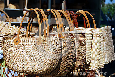 Two handled wicker bags