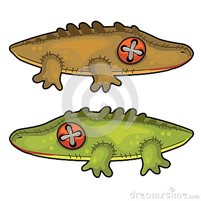 Two handmade soft toys crocodile. Vector animal Vector Illustration
