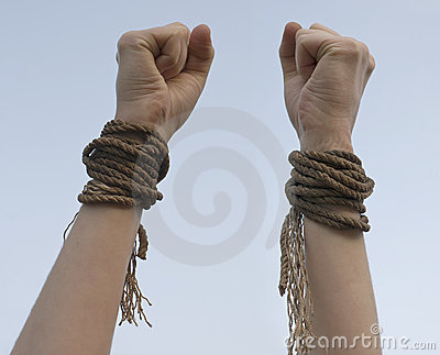 Two hands with broken rope