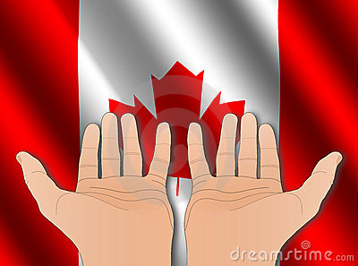 Two hands with Canadian flag