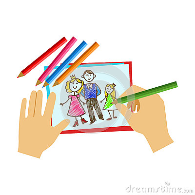 Two Hands Coloring With Pencil A Coloring Book Page, Elementary School Art Class Vector Illustration Vector Illustration