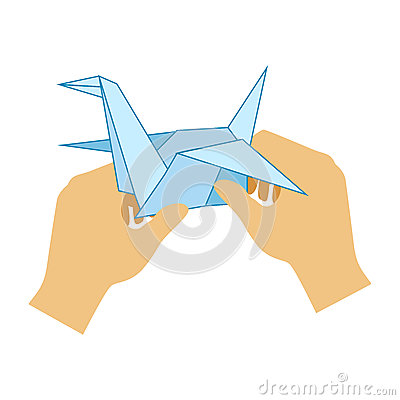 Two Hands Doing Origami Paper Crane, Elementary School Art Class Vector Illustration Vector Illustration