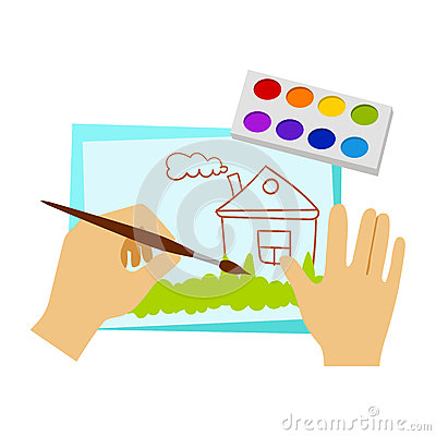 Two Hands Drawing With Paint And Brush, Elementary School Art Class Vector Illustration Vector Illustration