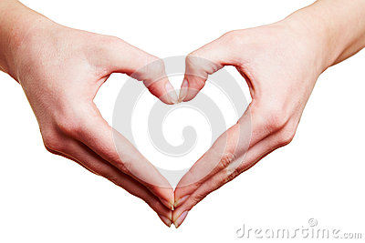 Two hands forming heart in love