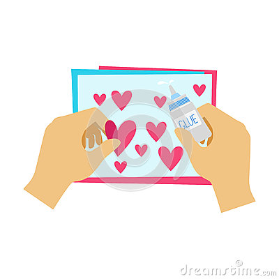 Two Hands Gluing Hearts To Paper Postcard, Elementary School Art Class Vector Illustration Vector Illustration