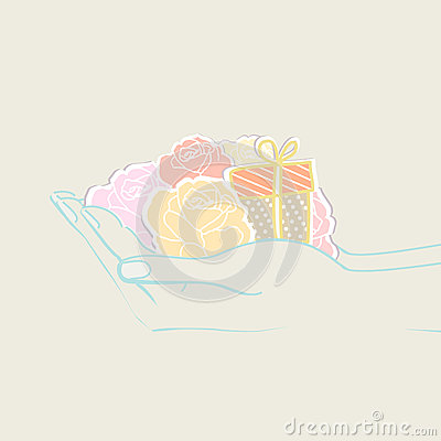 Two hands holding flowers and a gift Vector Illustration