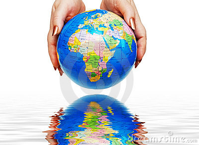 Two hands holding a globe