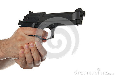 Two hands holding a gun with finger on the trigger
