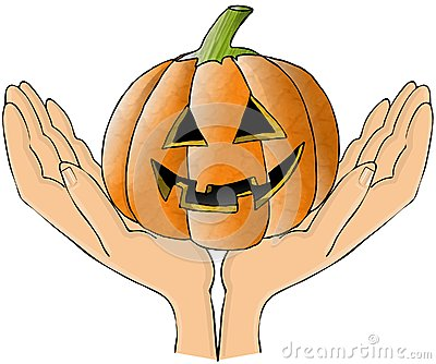 Two hands holding a pumpkin