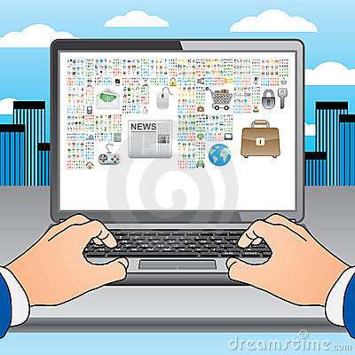 Two hands on the laptop with many icons