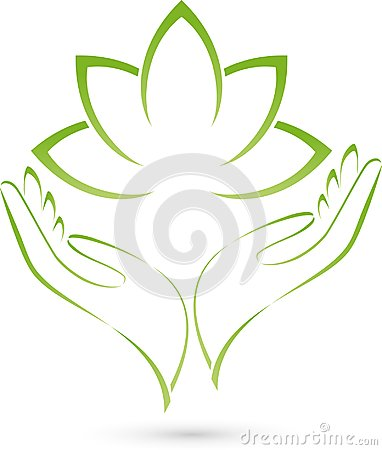 Two hands and leaves, massage and wellness logo Stock Photo
