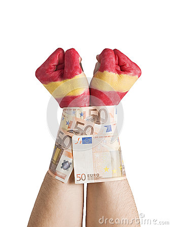 Two hands painted flag Spain cuffed 50 euro bills