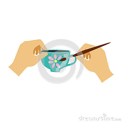 Two Hands Painting a Teacup, Elementary School Art Class Vector Illustration Vector Illustration