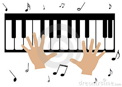 two hands, a piano and music notes