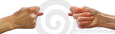 Two hands showing each other fig sign