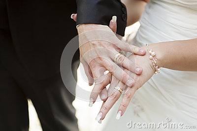 Two hands with a wedding ring