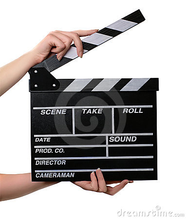 Free Two Hands With A Movie Clapper Board Open. Royalty Free Stock Photography - 12875157