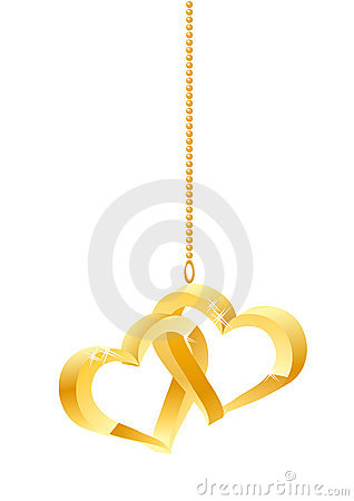 Two hanging gold hearts