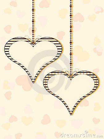 Two hanging heart shapes with copy space
