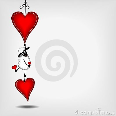 Two hanging red hearts and cute lamb