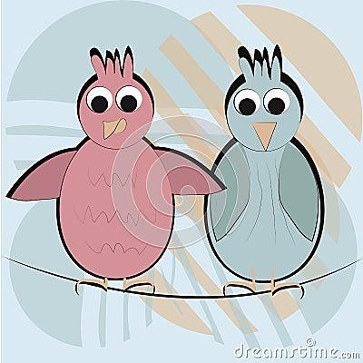 Two happy birds