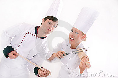 Two happy chefs