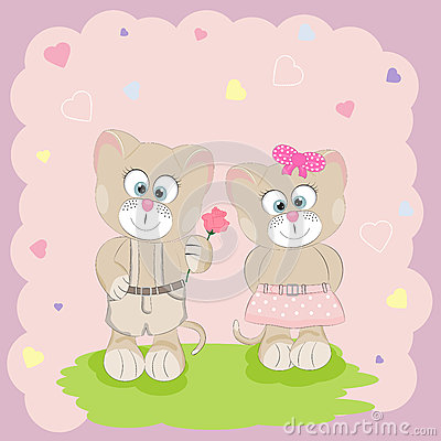 Two happy cute cats with a flower.Best friends. Vector Illustration