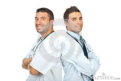 Two happy doctors men