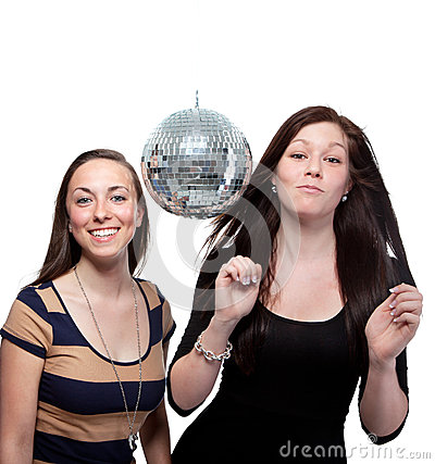 Two Happy Friends With Disco Ball