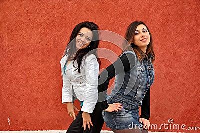 Two happy girlfriends