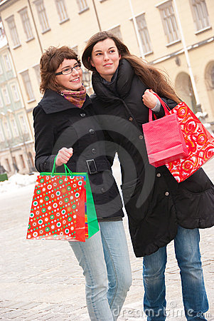Two happy girls fter shopping