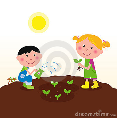 Two Happy Kids Watering And Planting Plants Royalty Free Stock Photo - Image: 18444115