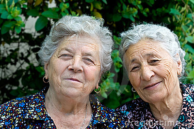 Two happy senior women