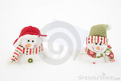 Two happy snowman