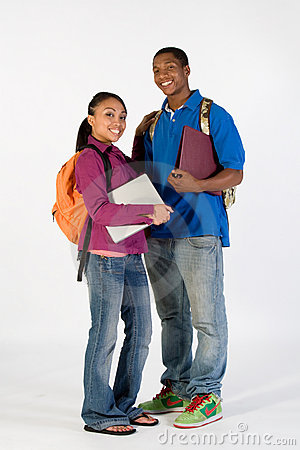 Free Two Happy Students - Vertical Stock Image - 5490081