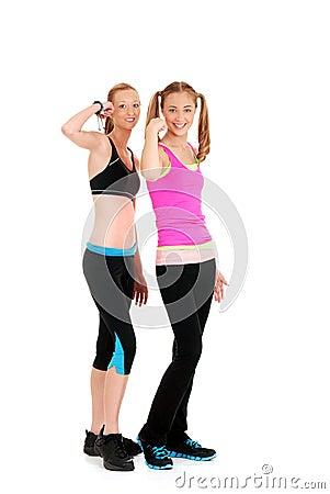 Two happy women doing zumba Fitness