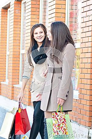 Two Happy Women - girls on shopping trip