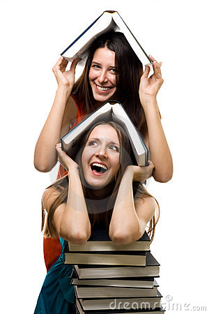 Free Two Happy Women With Books Together Royalty Free Stock Photography - 10729297
