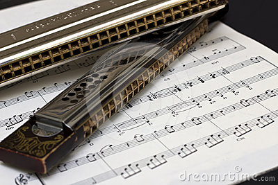 Two Harmonicas on sheet music