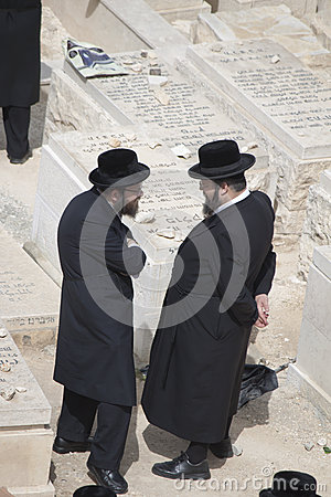 Two Hassidic Jews talking Editorial Image
